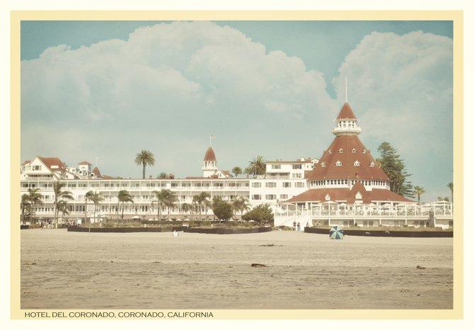 A view of The Hotel Del from the beach, Coronado, California.