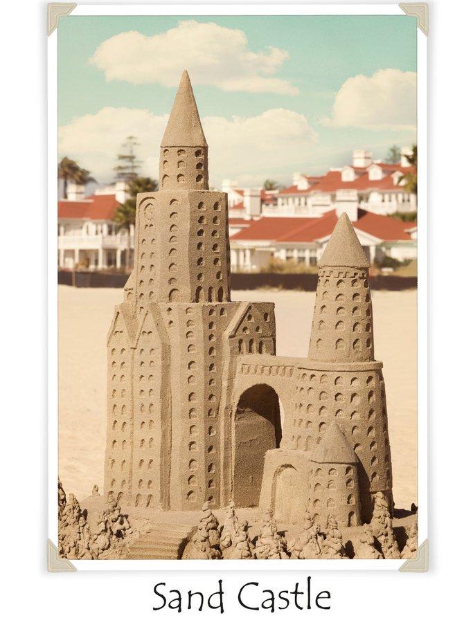 Sand Castle on the beach in front of the Hotel Del Coronado