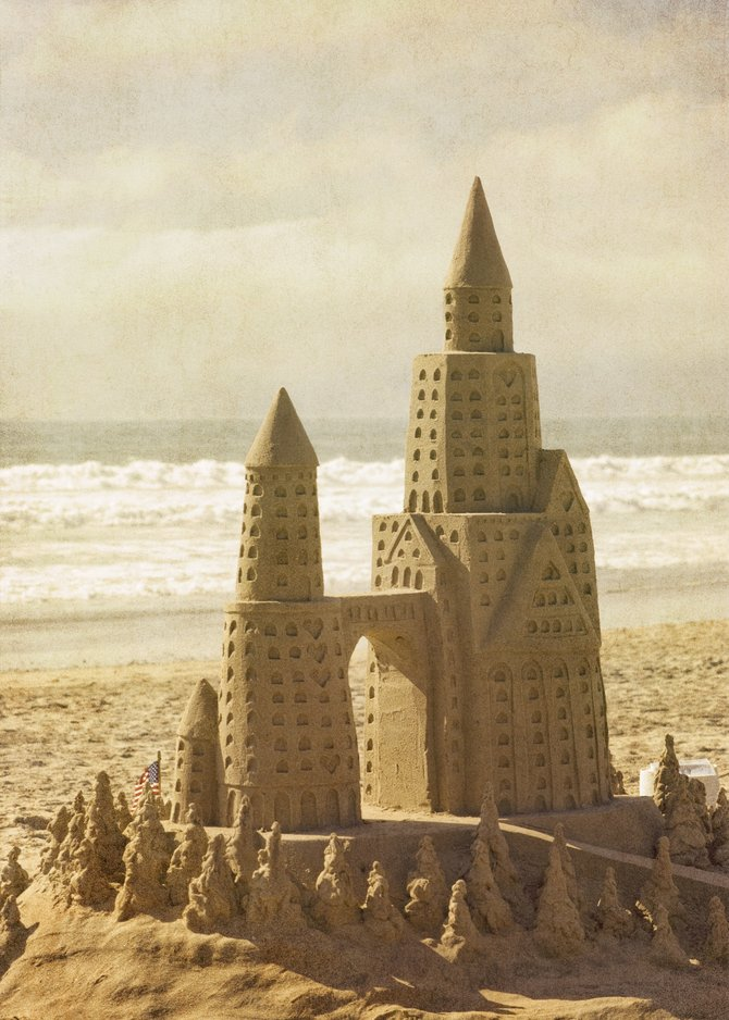 Sand castle on the beach in front of the Hotel del Coronado