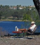 Reading a book at Lake Miramar