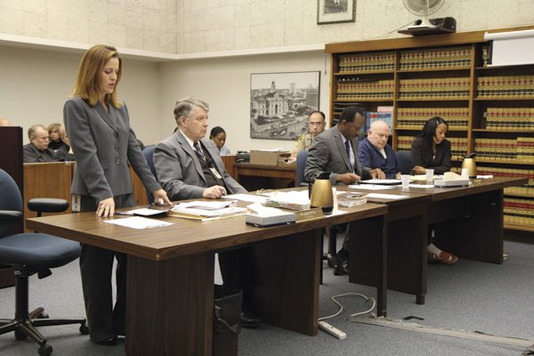 Deputy district attorney Sharla Evert (left) teared up at one point during her description of Watson's murder