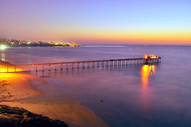 Scripps Pier after sunset.
