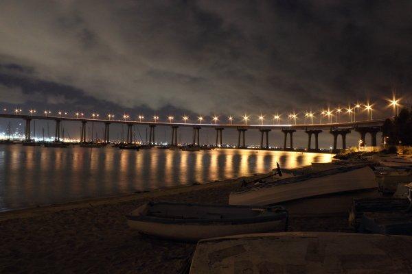 Coronado Bridge at night.