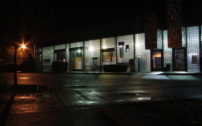 The Rancho Penasquitos post office on Twin Trails lit at night.