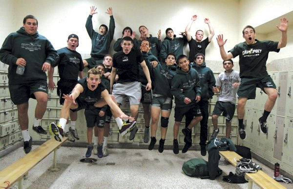 Poway Titans in their locker room  after a recent match with Mt. Carmel