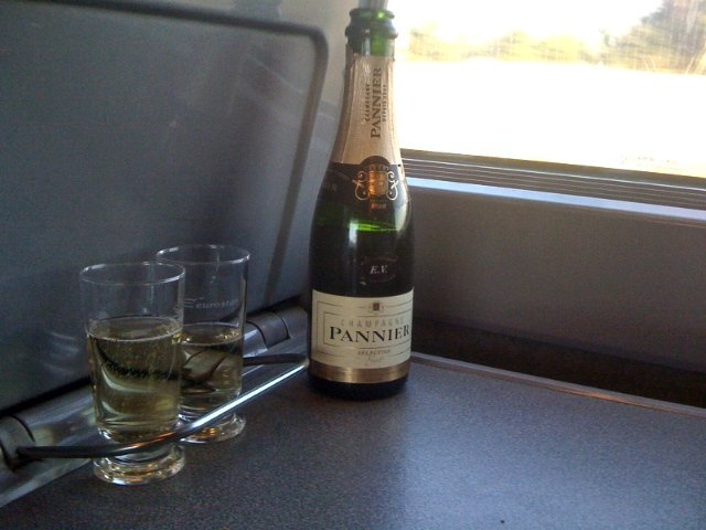 Champagne at 9 am on the Eurostar train ride from London to Paris.  Headed to Paris why not champagne for breakfast!