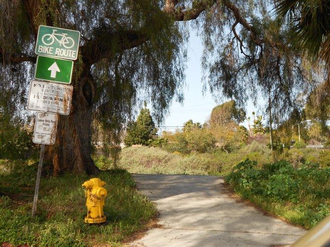 Trail entrance to Rose Creek Bike Path in PB.