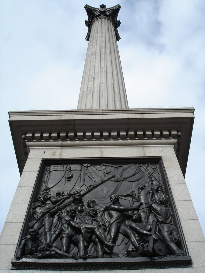 Nelson's Column in Trafalgar Square at the heart of London.
