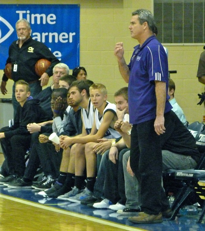 Foothills Christian head coach Brad Leaf looks on from the Knights bench
