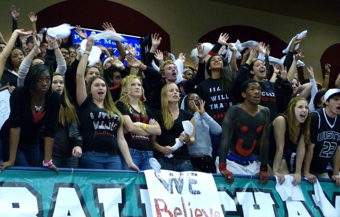 Vista students cheer on the Panthers during the Division I Finals