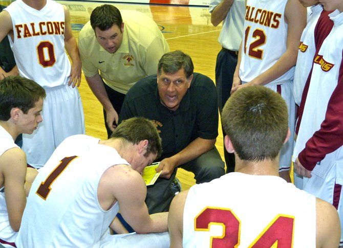 Torrey Pines head coach John Olive talks strategy with the Falcons during a timeout