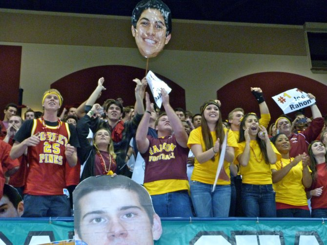 Torrey Pines students cheer on the Falcons in the Division I Finals