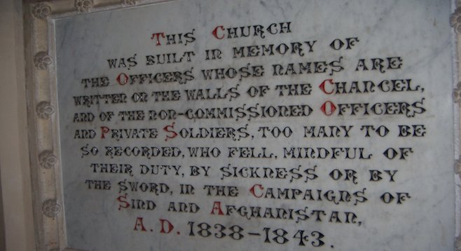 Inscription in Bombay, India, church to English soldiers who fought in the Anglo-Afghan Wars