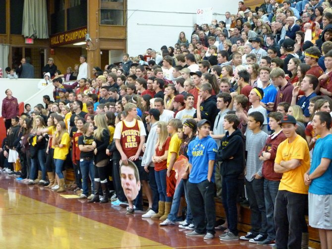 Torrey Pines students fill up the bottom half of the bleachers for the Falcons' first round state playoff game against Mission Viejo