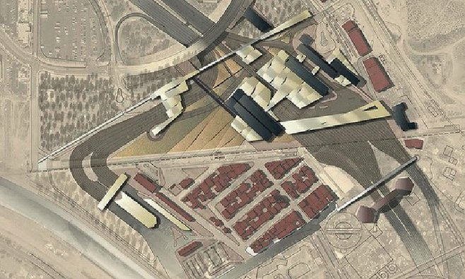 Aerial-view rendering of the U.S.-MX border complex upon completion. Lower left is the Mexican El Chaparral...above and more to the right is the U.S. border-crossing station.