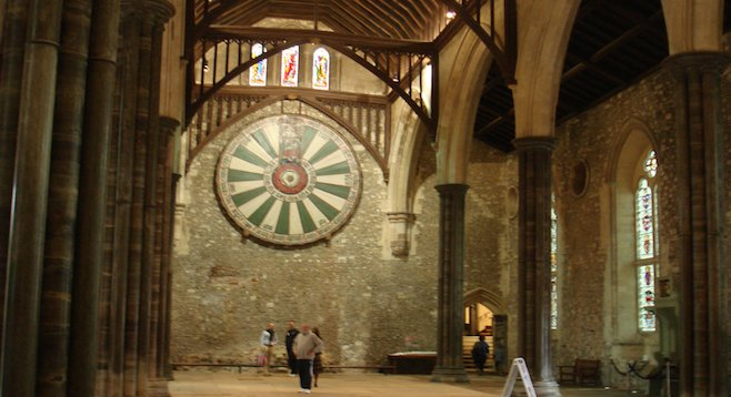 Winchester's Great Hall, with Round Table mounted on the far wall