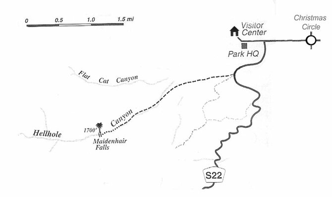 Hellhole Canyon and Maidenhair Falls map