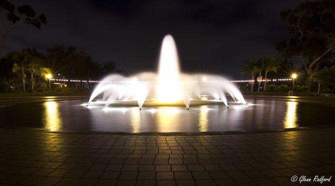 'Balboa Park fountain by night'