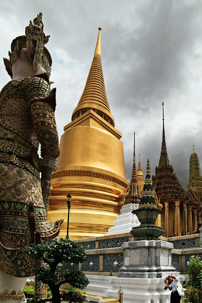 Storm clouds gather over the royal palace of Thailand.