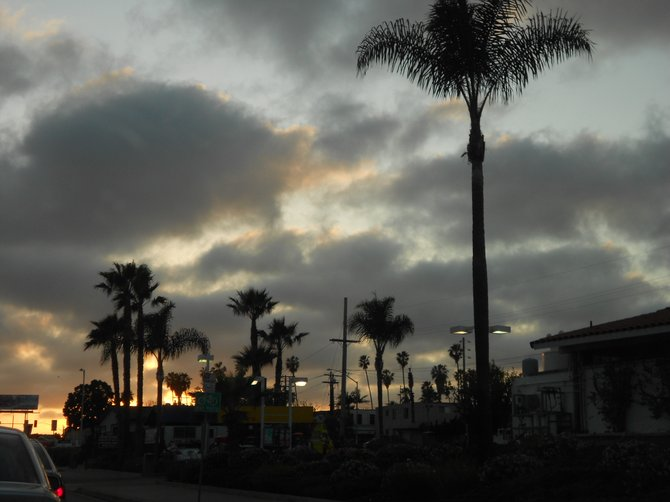 Dusk in Pacific Beach along Garnet Ave.