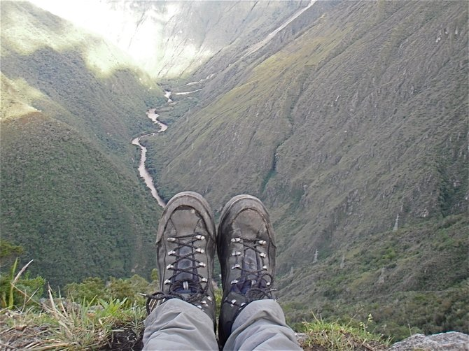 Day 3 of 4 day Inca Trail Trek to Machu Picchu. Sitting about Urubamba River.
