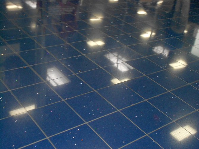 Pretty, sparkly flooring at Best Buy on Mission Center Rd.