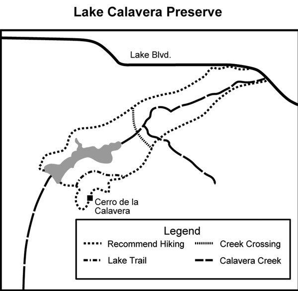 Calavera Lake and Mountain map
