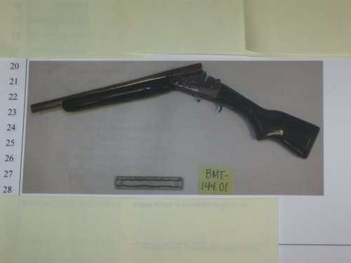 Evidence photo of the sawed-off shotgun which police say was used to kill a Carlsbad man in his own garage April 1, 2011