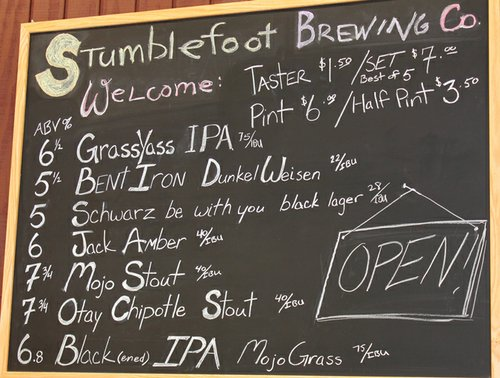 Stumblefoot's beer board is stocked with a variety of diverse brews, including some seldom seen on the SD scene.