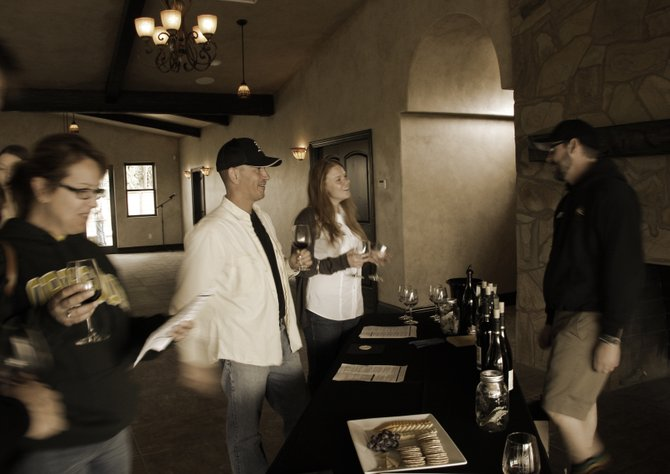 Wine tasters at Danza Del Sol winery in Temecula.