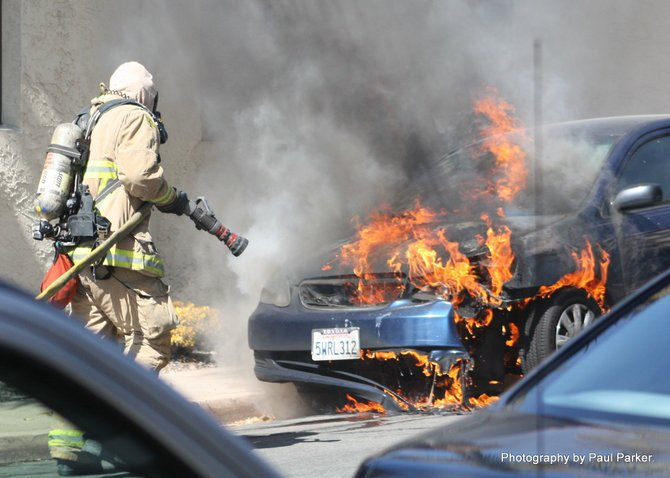 Vehicle fire in Old Town, San Diego #2