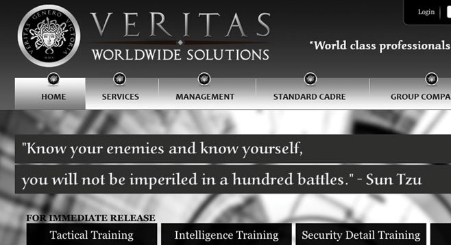 """Veritas Worldwide Solutions """"was formed with the idea of providing training to the United States military and law enforcement forces."""""""