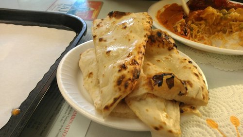 Naan is made fresh for each buffet order.