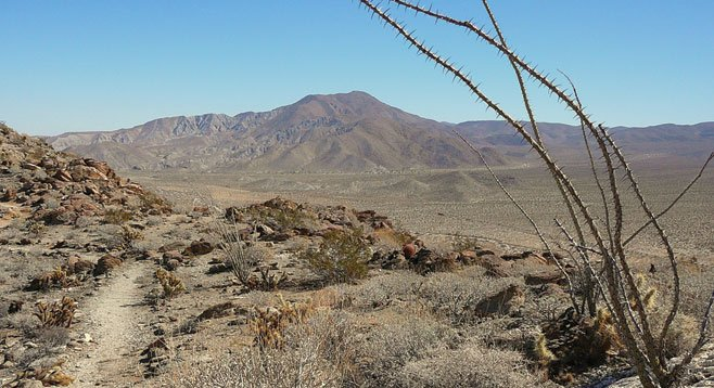 Bill Kenyon Overlook Trail with Pinyon Mountains and Mescal Bajada in background