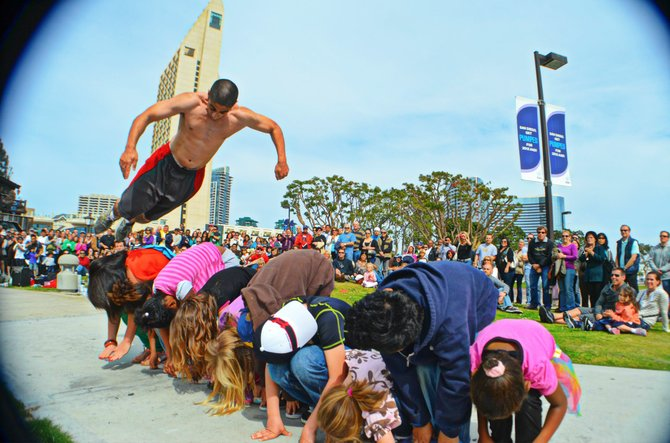 Flying Tortillas rocking it at the Buskers Festival 2012, Seaport Village