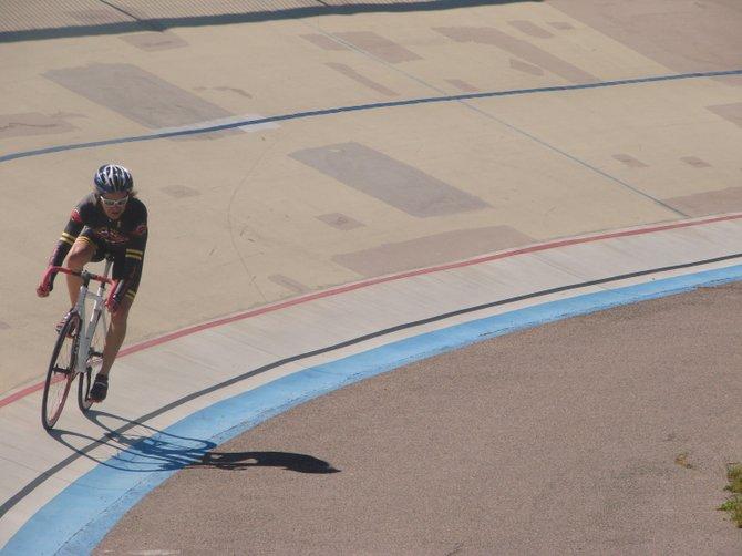 rider at san diego velodrome track in balboa park