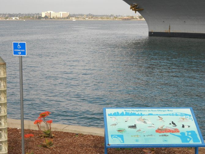 Over-looking San Diego Bay near the Midway Museum, downtown.