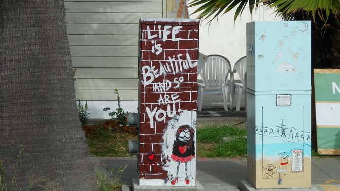 Very cool message on utility box art along Cable St. in Ocean Beach.