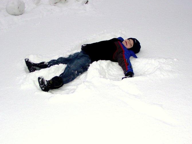 Snow angels in Renton, Washington