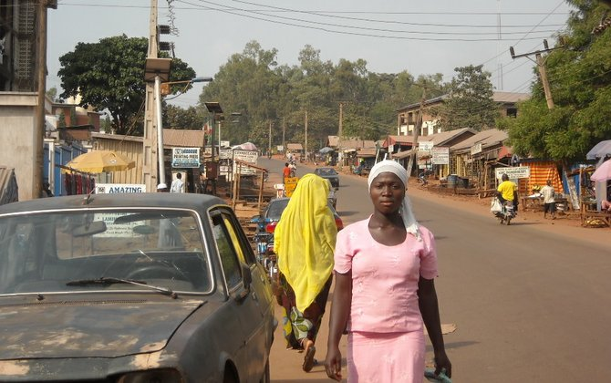 Middle of the street in Ankpah, Nigeria.