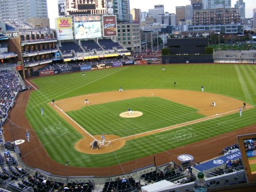 (Image: First pitch of Tuesday's exhibition game between the San Diego Padres and the Kansas City Royals, from the press box)