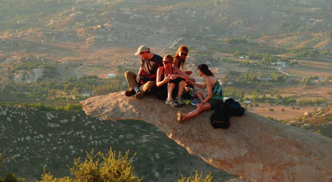 This is potato chip rock located on Mt. Woodson, a popular place for local hikers.
