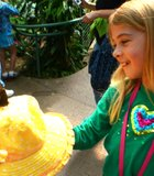 "New Spring Bonnet... My daughter ""catching"" a butterfly at San Diego Safari Park's Butterfly Jungle"