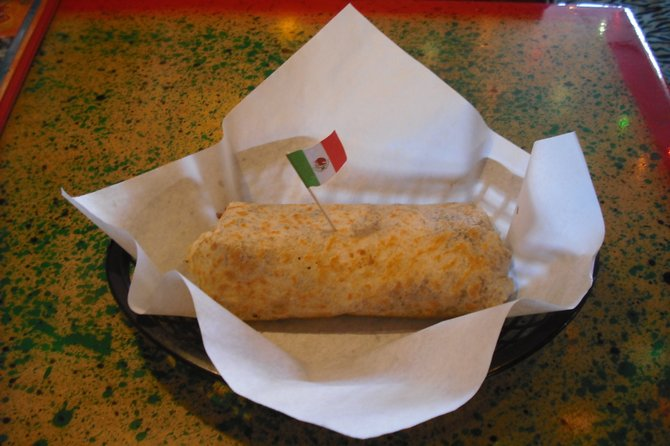 I decided I'd try out the Pescado (fish) Burrito. I had the waitress omit the rice from my order, to avoid chicken stock.