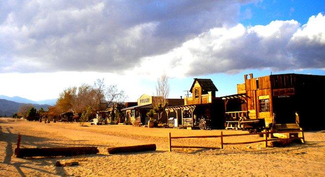 Pioneertown's deserted Mane Street, a former Western movie set.