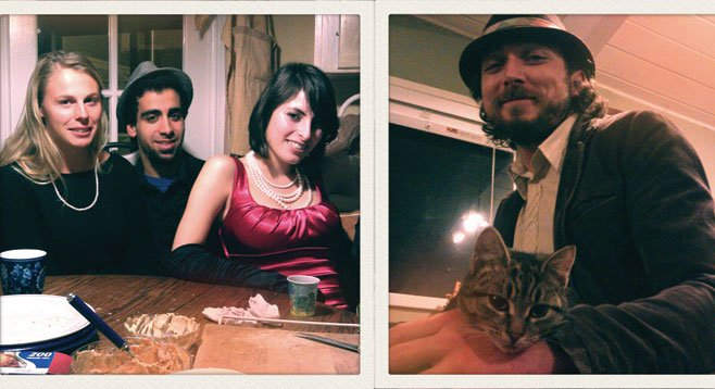 (Left) Jammers, flappers, and friends. (Right) Dustin and Harley's awesome cat