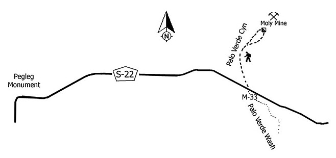 Map to Palo Verde Canyon and the Moly Mine