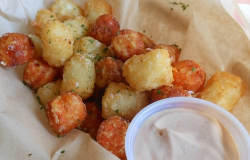 My 50/50 potato tots. Sweet taters were the winners
