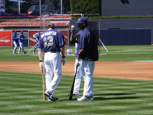 Chris Denorfia and Will Venable chat before batting practice.