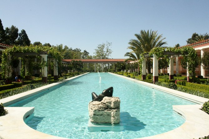 The sun shines bright at the Getty Villa located in Malibu, California.